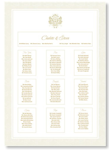 Empire Cream and Gold Table Plan