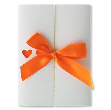 Ribbons Tangerine Wedding Invitation