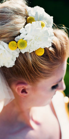 Yellow Accented Wedding Hair