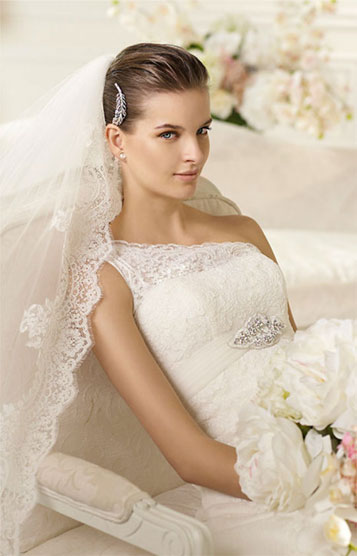 All White Wedding Dress with Lace Layers