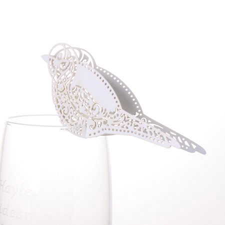 White Laser Cut 'Bird Shaped' Place Cards