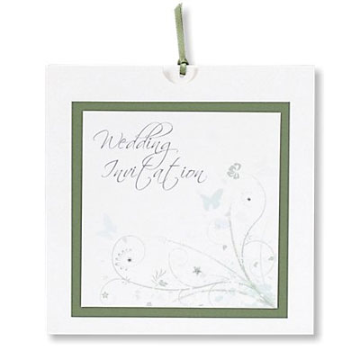 Wonderland Sage Wedding Invitations Floral