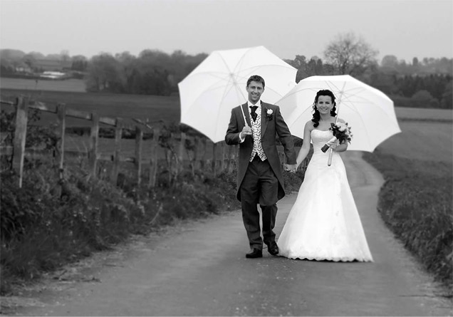 Wedding Photography - Couple with Umbrellas