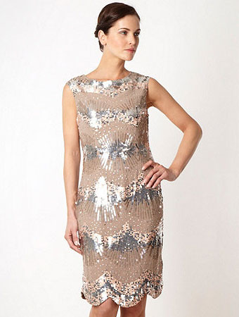 Jenny Packham Peach Sequinned Dress