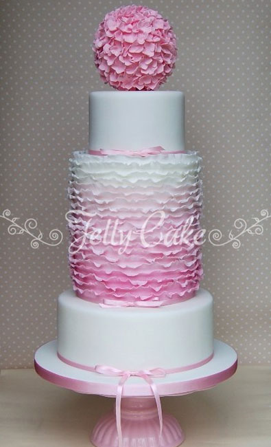 Pink Ombre Wedding Cake