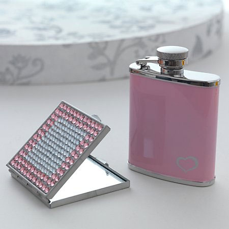 Pink Hip Flask and Compact Mirror