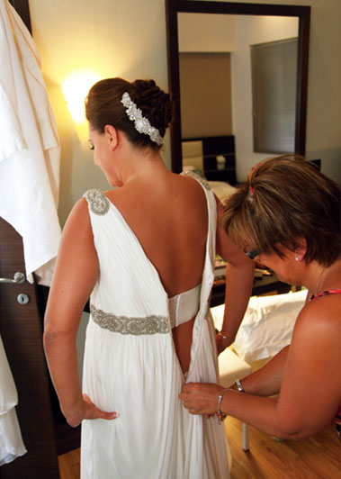 Kristin getting ready with her mum
