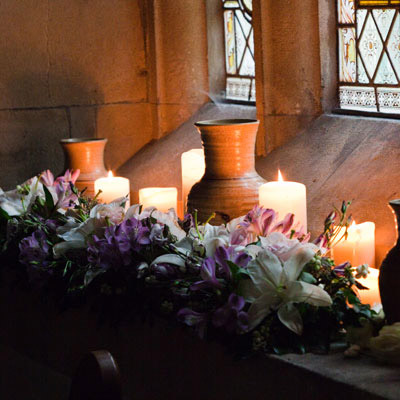 Image showing a church with candles