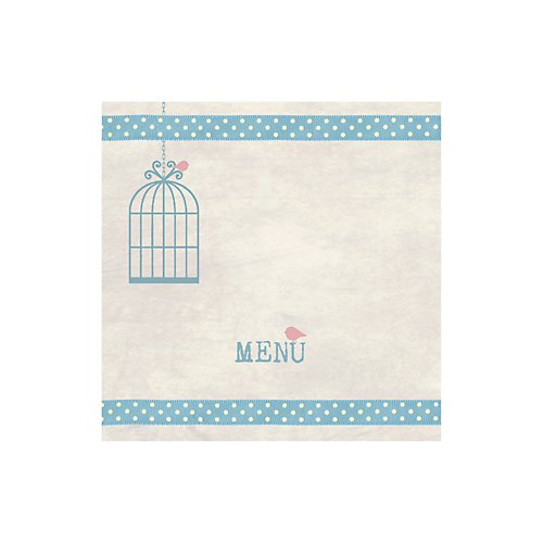 Birdcage Blue Wedding Menu Card