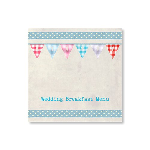 Bunting Blue Wedding Menu Card