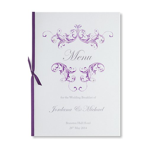 Grace Purple Wedding Menu Card