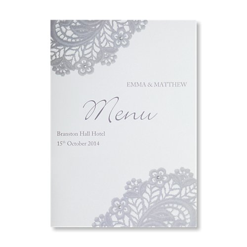 Victoria Silver Wedding Menu Card