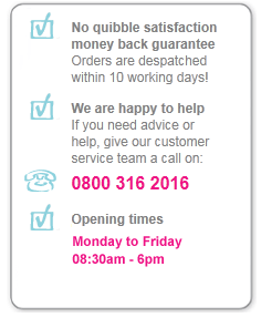 Satisfaction Guarantee, Customer Services 0800 316 2016