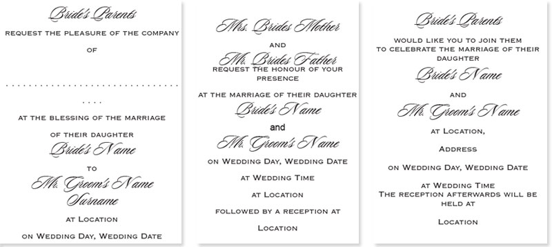 Wedding Wording Styles – Wedding Invitation Sample Format
